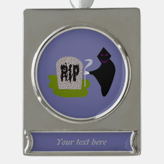 Death in the Cemetery Halloween CustomOrnament Silver Plated Banner Ornament