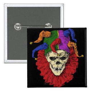 Death Jester Clown Skull Pinback Button