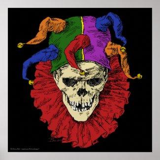Death Jester Clown Skull print