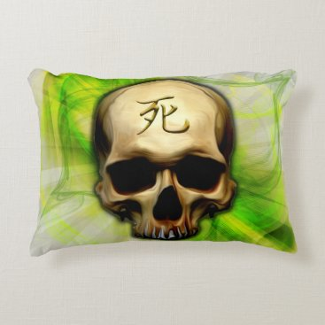 Halloween Themed Death Kanji Skull Accent Pillow