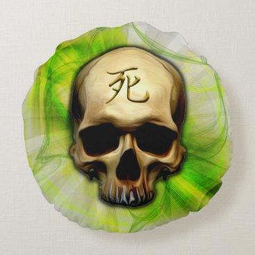 Halloween Themed Death Kanji Skull Round Pillow