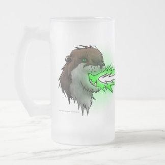 Death Laser Otter- Green (Mug) Frosted Glass Beer Mug
