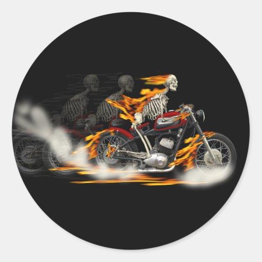 Death Metal Motorbike Riders Rubber burn Classic Round Sticker