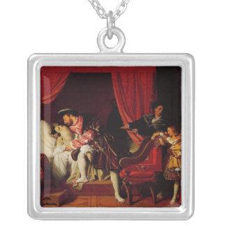Death of Leonardo Da Vinci by Ingres circa 1818 Square Pendant Necklace