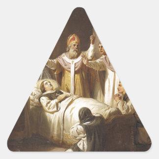 Death of Saint Margaret of Hungary - Jozsef Molnar Triangle Sticker