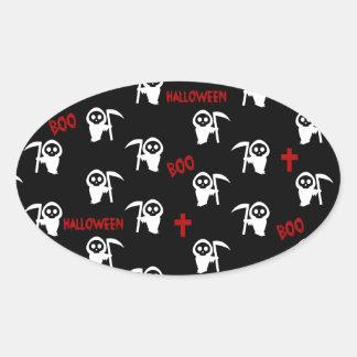 Death pattern - Halloween Oval Sticker