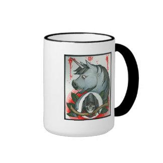 """Death rides a Unicorn"" Ringer Coffee Mug"