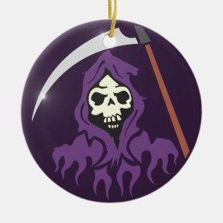 Death scythe man grim more reaper Double-Sided ceramic round christmas ornament