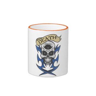 Death Skull Blue Tribal Tattoo Ringer Mug