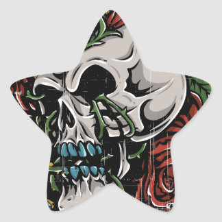 Death Skull Grave RIP Skeleton Star Sticker