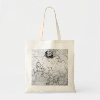death throwing itself on small hung tote bag