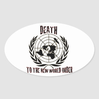 DEATH TO THE NEW WORLD ORDER OVAL STICKER