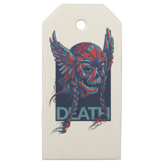 death with flying skull design wooden gift tags