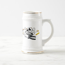 Death'head above hard disk opened beer stein