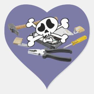 Death'head sobre el disco duro abierto pegatina en forma de corazón