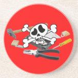 Death'head sobre el disco duro abierto posavasos manualidades