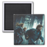 Deathly Hallows - Group Running 2 2 Inch Square Magnet