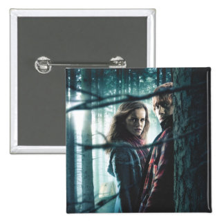 Deathly Hallows - Hermione and Ron 2 Inch Square Button