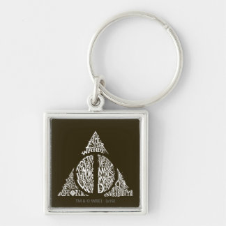 DEATHLY HALLOWS™ Typography Graphic Silver-Colored Square Keychain