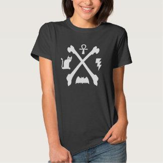 Deathrock Goth Kitty Cat Ankh Bat Bones T Shirt