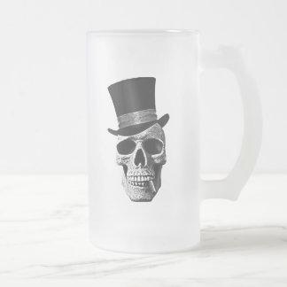 Death's-head gentlemen frosted glass beer mug