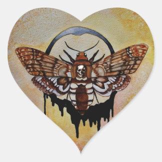 Death's Head Hawk Moth Heart Sticker