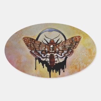 Death's Head Hawk Moth Oval Sticker