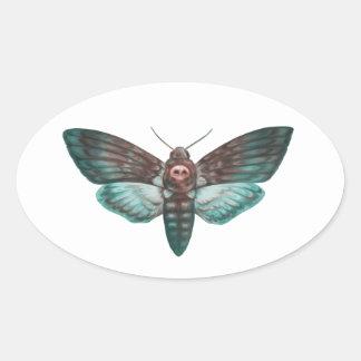 Death's-head Hawkmoth Oval Sticker