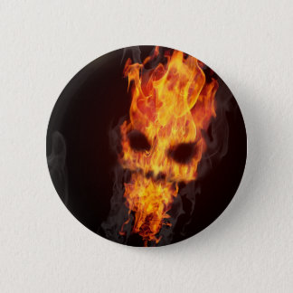 Death's head in flames swipes in button
