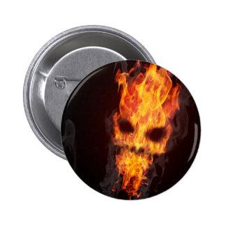 Death's head in flames swipes in button