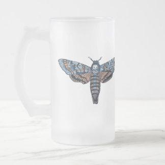 Death's Head Moth, aka Sphinx atropo moth Frosted Glass Beer Mug