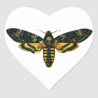 Death's Head Moth Heart Sticker