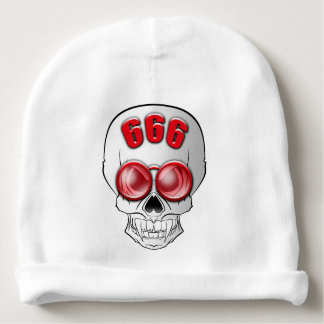 Death's head with glasses baby beanie