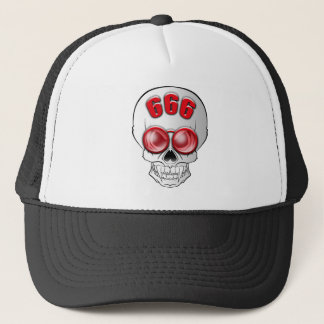 Death's head with glasses trucker hat
