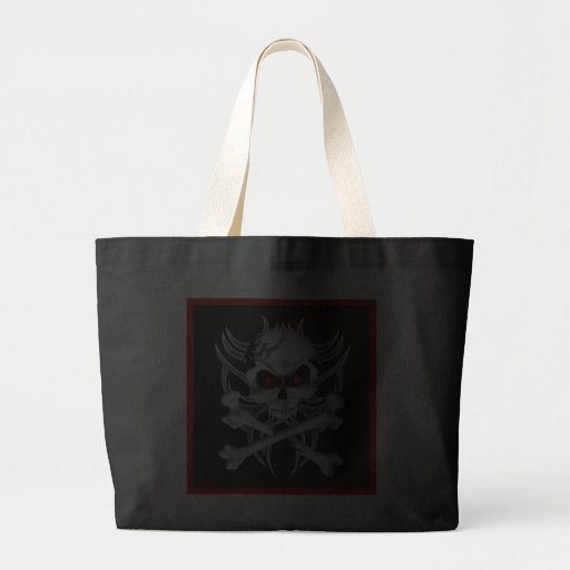Death's Skull and Crossbones Large Tote Bag