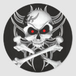 Death's Skull and Crossbones Round Sticker