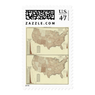 Deaths, whooping cough, measles postage
