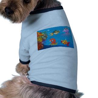 Debajo de criaturas del agua camiseta con mangas para perro