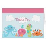Debajo de la ballena del rosa de mar gracias tarjeta de felicitación