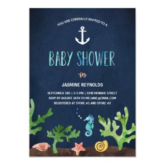 """Debajo de la fiesta de bienvenida al bebé náutica invitación 5"""" x 7"""""""