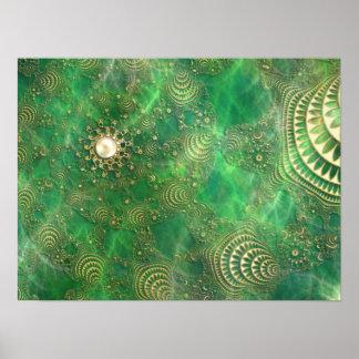 Debajo de la impresión esmeralda del mar poster