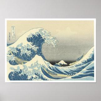Debajo de la onda de Kanagawa, Hokusai, 1830-32 Póster