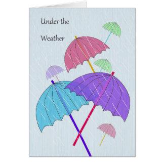 Debajo de la tarjeta del tiempo con los paraguas