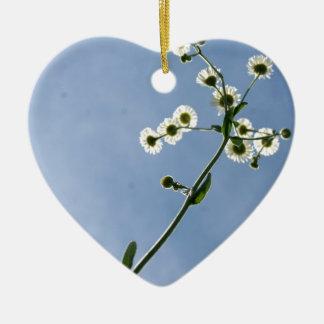 Debajo de las margaritas adorno de cerámica en forma de corazón