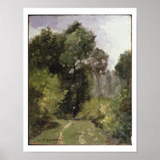 Debajo de los árboles, 1864 (aceite a bordo) póster