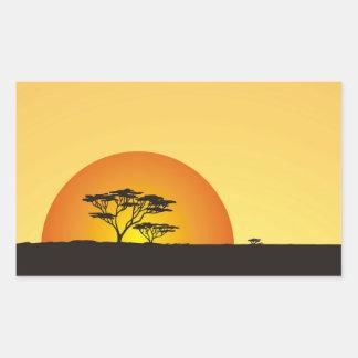 Debajo de los cielos africanos: Puesta del sol de Pegatina Rectangular