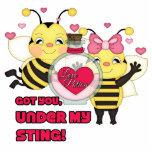 Debajo de mis abejas divertidas de la tarjeta del  esculturas fotográficas