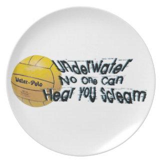 Debajo del agua nadie puede oírle gritar la placa platos de comidas