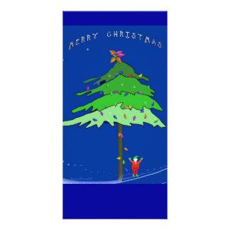 Debajo del árbol de Navidad Tarjeta Personal Con Foto