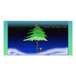 Debajo del árbol de Navidad Tarjetas Fotograficas Personalizadas